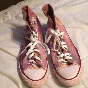 Custom tye dyed Converse hi tops